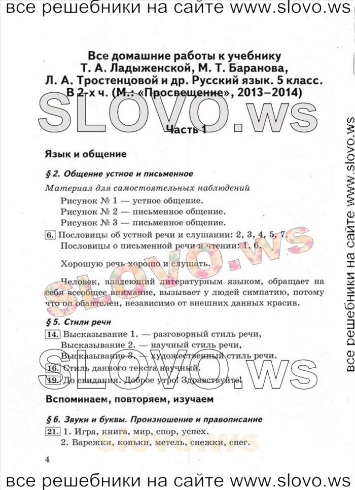 Гдз по русскому языку учебник ладыженской часть 1