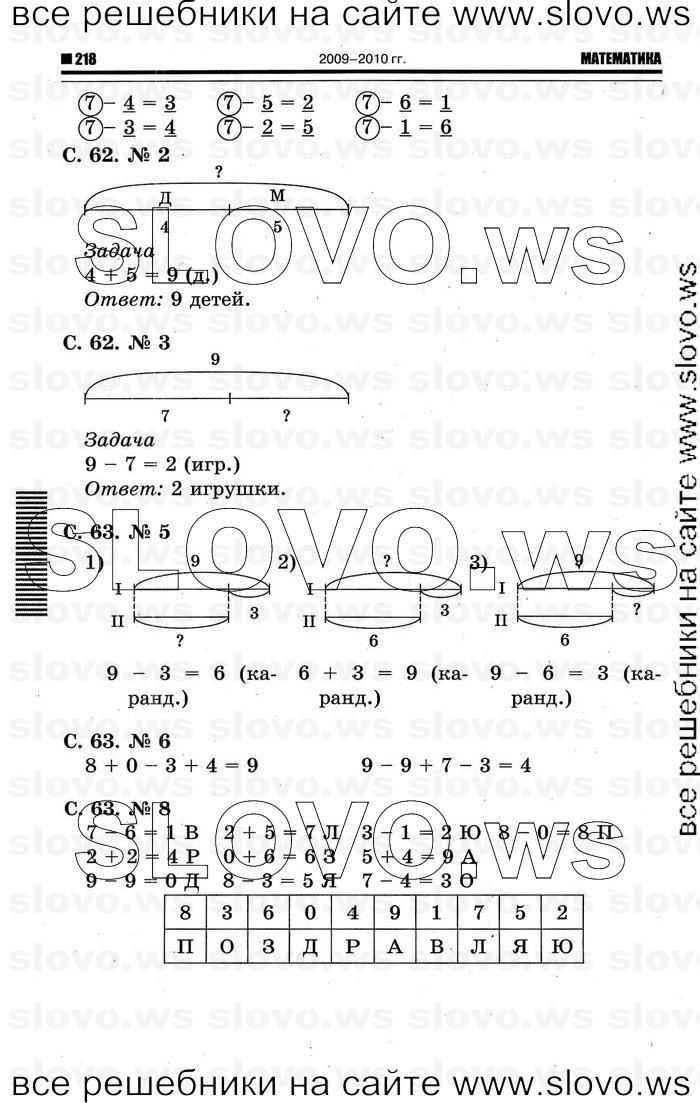 1 Класс Математика Решебник Скачать
