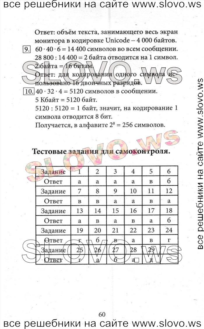 Босов гдз 7 по информатике кл