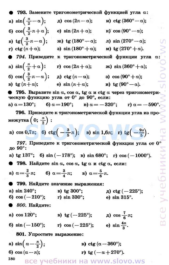 гдз по тригонометрии по теляковского 10 класс