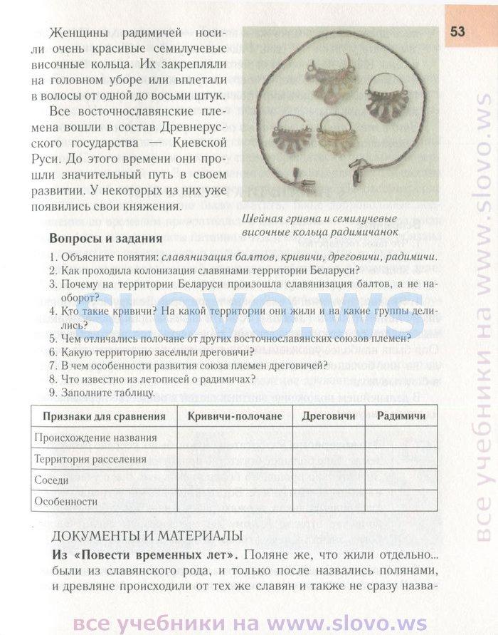 Решебник по истории беларуси 9 класс вопросы и задания